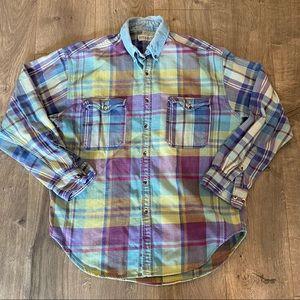 Vintage 90s Plaid Button Down Shirt Size L
